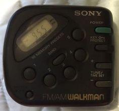 Sony FM/AM Walkman Radio Handheld Belt Clip Memory Clock Black