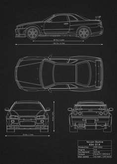Supercars Blueprints Cars poster prints by Rockstone Nissan Skyline, Skyline Gtr, R34 Gtr, Scale Model Ships, Black Background Wallpaper, Tuner Cars, Car Drawings, Car Wallpapers, Honda Civic