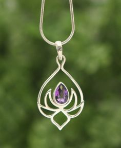 Amethyst and Sterling Silver Lotus Drop necklace