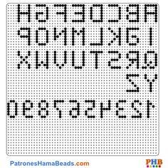Alfabeto plantilla hama bead. Descarga una amplia gama de patrones en formato PDF en www.patroneshamabeads.com