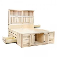 Mission Chest Bed Beds Barn Furniture Craftsman Furniture Made in USA Bed Frame With Drawers, Bed Frame With Storage, Diy Bed Frame, Bed Frames, Platform Bed With Drawers, Diy Queen Bed Frame, Chest Drawers, Diy Drawers, Storage Drawers