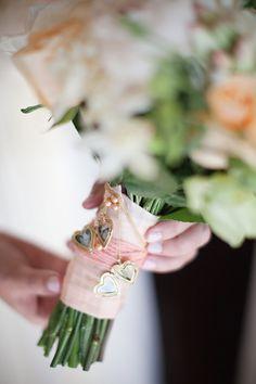 locket wrapped around bouquet #JustFabinlove #Wedding