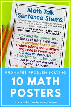 Help your students learn to talk and write about math with these problem solving anchor charts. These 10 charts provide your students with problem solving strategies and the language to help them dive into math talks. Fun Math Activities, Math Games, Teacher Resources, Math Notebooks, Interactive Notebooks, Math Strategies Posters, Elementary Math, Upper Elementary, Math Talk