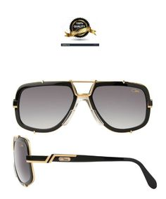 08a287d7035 Cazal Sunglasses Men 656 3 Col.1 Gold Black Frame and Grey Lens 100