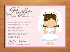 Praying Girl First Communion Customized Printable Invitation Cards DIY