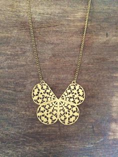 """Gold """"clover"""" filigree on lightweight gold plated chain 28"""" #wearUniquely #simpleLine #necklace #antique #gold #long #filigree #clover #butterfly #simple www.doxahlogy.com"""