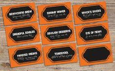 Halloween food & drink labels - Printable file