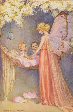 Margaret Tarrant - The Magic Palace pieces Jigidi jigsaw puzzle) A fairy puts her children to bed. Illustration by Margaret W. Tarrant for the 1932 book 'Magic Houses', written by Barbara Todd. Fairy Dust, Fairy Land, Fairy Tales, Arte Fashion, Fairy Pictures, Vintage Fairies, Love Fairy, Beautiful Fairies, Flower Fairies