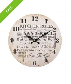 Jones Home and Gift Wall Clocks & Garden Kitchen Rules, Helping Cleaning, Kiss The Cook, Home Deco, Shabby Chic, Wall Clocks, Gifts, Ebay, Design
