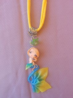 mermaid necklace on fimo polymer clay by Artmary2 on Etsy, €12.00