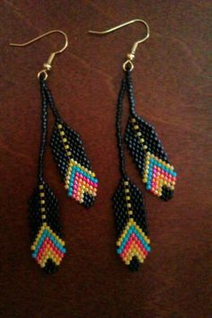 Beaded Feather Earrings. #beadwork via Etsy. #beadwork by proteamundi