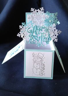 Tattered Lace Pop Up Box Card - Snowman and Snowflakes