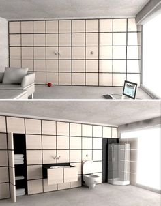 Compact Bathrooms OneselfIn a one-room apartment where privacy isn't a problem, perhaps something like this would work (though it would be better if it was at least partially walled off): a gridded wall that opens to reveal a sink, toilet and shower along with storage for towels and other items.
