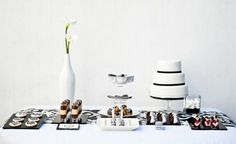Who said a black and white dessert table would be boring? How To Create A Wedding Dessert Table By Tempting Cake White Dessert Tables, Dessert Buffet Table, White Desserts, Fun Desserts, Buffet Set, Candy Table, Black And White Wedding Theme, White Bridal, Dinner Mints