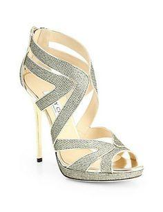JIMMY CHOO - Collar Glitter Lamé Platform Sandals