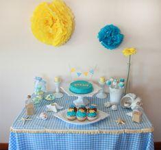 minimesa dulce azul y amarillo
