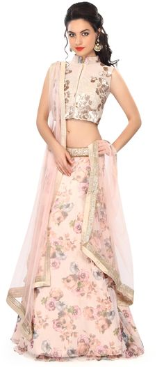 Buy Online from the link below. We ship worldwide (Free Shipping over US$100) Price - $359.00 Click Anywhere to Tag http://www.kalkifashion.com/light-peach-lehenga-embellished-in-sequin-and-floral-print-only-on-kalki.html
