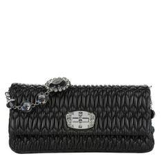 Miu Miu Tasche – Pattina Nappa Crystal Nero – in schwarz – Abendtasche für Damen