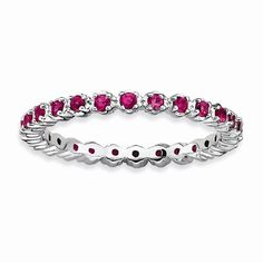Sterling Silver Created Ruby Eternity Stackable Band