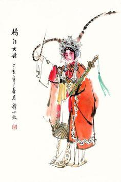 水墨戏剧人物新派画家穆小玫 Japanese Drawings, Japanese Art, Chinese Opera Mask, Water Art, China Art, China Painting, Chinese Culture, Whimsical Art, Ancient Art