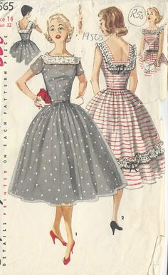 Mid 50s party dress grey white polka dots red white stripes full skirt cocktail short sleeves summer vintage print ad color illustration 1956 Vintage Sewing Pattern DRESS B32 (R50)
