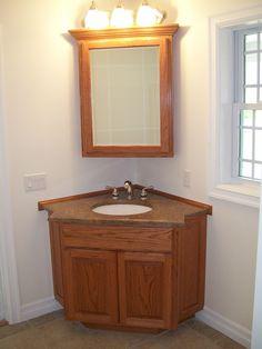 Good Idea Of Corner Bathroom Vanity In Brown