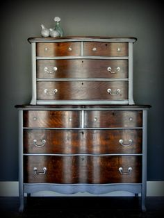 """SOLD***   Antique oak stained and painted chest on chest of drawers, dresser, driftwood gray grey """"Double Duty"""" Modern Vintage by TRWpainted on Etsy https://www.etsy.com/listing/281357994/sold-antique-oak-stained-and-painted"""