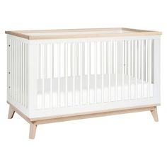 Babyletto Scoot 3-in-1 Convertible Crib with Toddler Rail - White/Washed Natural : Target