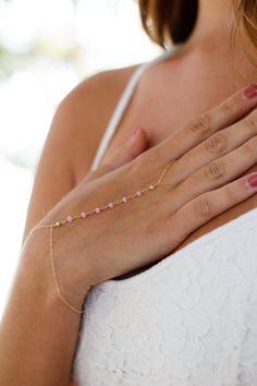 pink chalcedony hand chain bracelet gold by ThistleandThatch Slave Bracelet, Ring Bracelet, Bracelets, Bangles, Necklaces, Garnet Rings, Garnet Gemstone, Amethyst, Hand Jewelry