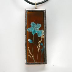 Stained Glass Pendant with Real Pressed by DesignAndBeMary on Etsy, $18.95
