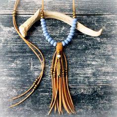 Feather Necklace Lon Feather Necklace Long Tassel Necklace Statement Necklace Leather Fringe Necklace - DUSK BLUE - Boho Jewelry Tribal Jewelry Hippie Jewelry by xxxAZUxxx on Etsy www.etsy.com/...
