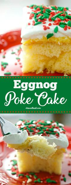 If you love eggnog, then you are going to love this dessert! This Eggnog Poke cake is great for all of your holiday get togethers—and not to mention EASY! Cake Eggnog Poke Cake - Oh Sweet Basil Holiday Desserts Christmas Cake, Easy Christmas Cake Recipe, Holiday Baking, Christmas Baking, Holiday Recipes, Christmas Holidays, Christmas Parties, Christmas Treats, Christmas Cupcakes