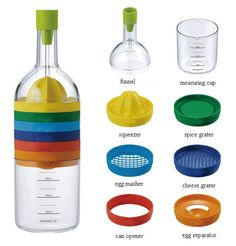 Save space and keep all your kitchen tools organised easily in one bottle with this multi-function kitchen tool bottle with a smart Japanese design that comes with 8 Essential cooking tools:  1.Combined Funnel 2.Squeezer 3.Spice Grater 4. Egg Masher  5. Cheese Grater  6. Cap Opener  7. Egg separator...;