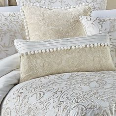 Croscill Home Fashions Cela Cotton Boudoir/Breakfast Pillow Glam Bedroom, Bedroom Bed, Bedroom Decor, Bedrooms, Bedroom Ideas, Quilt Bedding, Linen Bedding, Bedding Sets, Cream And Gold Bedroom