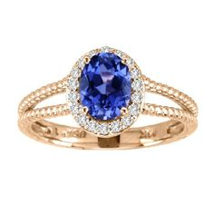 14kt Yellow Gold Oval Tanzanite and Diamond Ring 1.34ctw