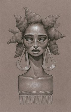 """From the """"Moondust"""" series, by Sara Golish: """"The series ... is my ode to Afrofuturism and dedicated to all the natural hair sisters around the world. ...[T]hese pieces are heavily based in Afrofuturism and various natural hair styles coloured girls rock. Inspired by music, 70s & 80s vinyl album covers, Sci-Fi, futuristic elements and retro flavours, by funky jewelry, the universe, magic and the unlimited possibilities of the imagination."""""""