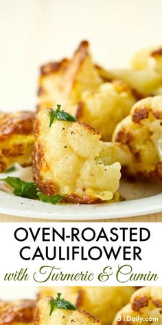 An easy side dish, Oven Roasted Cauliflower with Turmeric and Cumin is one of my go-to side dish recipes for quick-fix dinners -- and delicious taste. All year long. Side Dishes Easy, Side Dish Recipes, Vegetable Recipes, Vegetarian Recipes, Healthy Recipes, Pizza Recipes, Rice Recipes, Recipies, Veggies