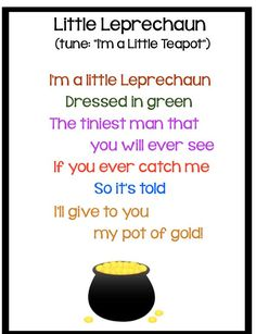 from your friends at KBound! Here& a song (author unknown) that is not only fun to sing with kids, but festive and motivating as. St Patricks Day Songs, St Patricks Day Crafts For Kids, St Patrick's Day Crafts, Happy St Patricks Day, March Crafts, Circle Time Songs, Circle Time Activities, Songs For Toddlers, Kids Songs