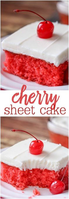Cherry Sheet Cake Recipe via lil' luna - a moist, cherry Jell-O cake topped with a homemade almond buttercream frosting. Yummy! The Best EASY Sheet Cakes Recipes - Simple and Quick Party Crowds Desserts for Holidays, Special Occasions and Family Celebrations