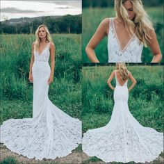 2016 Cheap Summer Beach Sheath Wedding Dresses Bohemian Full Lace V Neck Illusion Court Train Backless Formal Mermaid Plus Size Bridal Gowns Online with $162.82/Piece on Haiyan4419's Store | DHgate.com