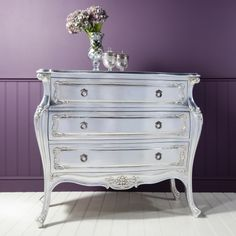 Frank Hudson Alexandria 3 drawer bombe chest of drawers. Inspired by French glamour with stunning ornate detailing. SPECIAL PRICE - £819.12 Shop > http://www.beau-decor.co.uk/chest-of-drawers/silver/special-price-frank-hudson-alexandria-3-drawer-bombe-chest?cPath=163&