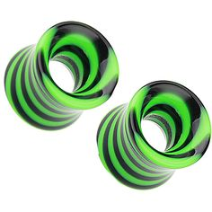 "FreshTrends Green Hypnotic Portal Acrylic Double Flared Tunnel Plugs 10G - 1"" - Pair"