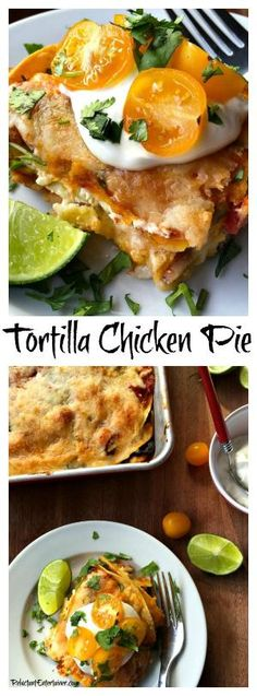 Tortilla Chicken Pie is a quick meal to make with a few pantry foods, and fresh ingredients such as tortillas, rotisserie chicken, and cheese by cassandra