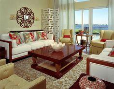 Vintage pillow fabric inspired the scheme for this modern living room.  Winner of HGTV Designers' Challenge.