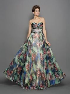 A-Line/Princess Sweetheart Chiffon Sleeveless Floor-Length Beading Dresses - Prom Dresses - Occasion Dresses - QueenaBelle.com