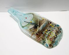 Fused glass  clock   Glass Melted recycled Wine , this is neat, I love it!