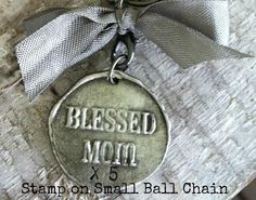 Large Wax Seal Blessed Mom Stamp times how many kiddos you have SMALL BALL CHAIN