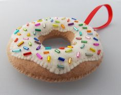 A new flavor from my Etsy shop - The Glazed Donut Ornament with Sprinkles! By Danielle London