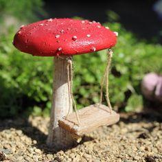 Miniature Dollhouse Fairy Garden Mushroom Fairy Swing