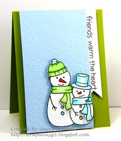 Lawn Fawn - Making Frosty Friends; Handmade by G3: Cool Friends Warm Wishes:)